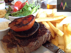 Steak and chips at the Tempo Hotel